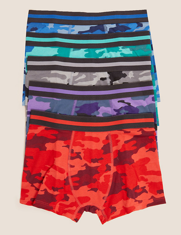 5pk Cotton with Stretch Camouflage Trunks (2-16 Yrs)
