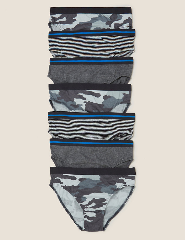 7pk Pure Cotton Patterned Briefs (2-16 Yrs)