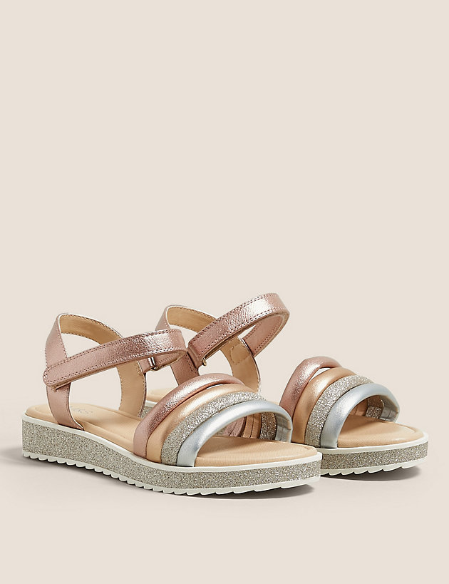 Kids' Riptape Metallic and Glitter Sandals (13 Small - 6 Larger)
