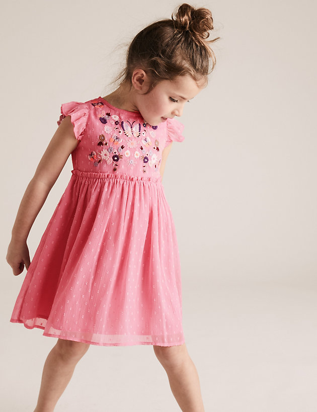 Chiffon Embroidered Floral Dress (2-7 Yrs)