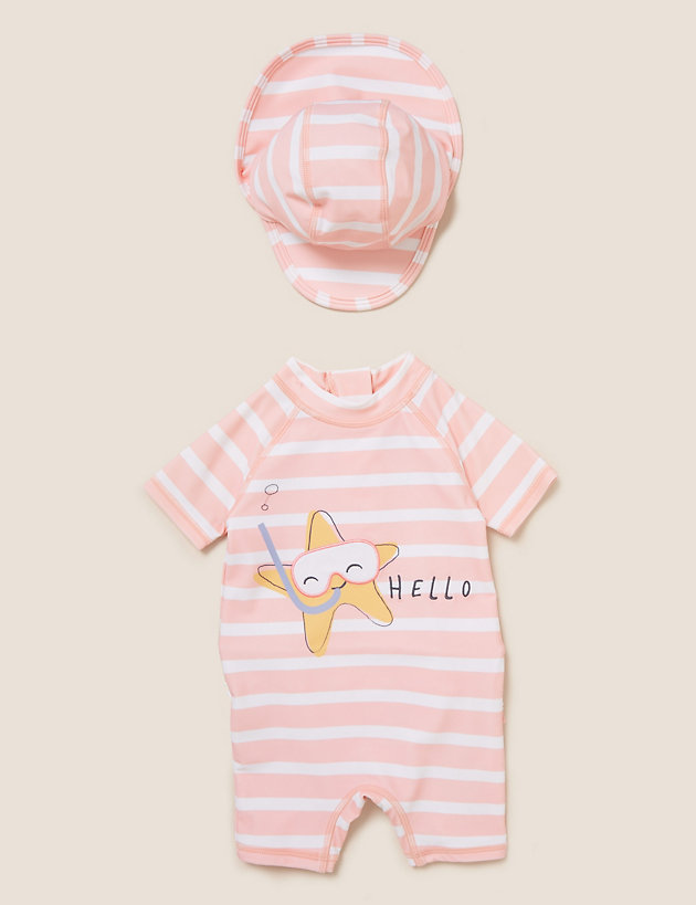 2pc Starfish Stripe Swim Set (0-3 Yrs)