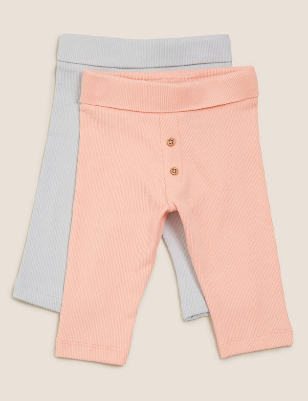 2pk Cotton Leggings (0- 12 Mths)