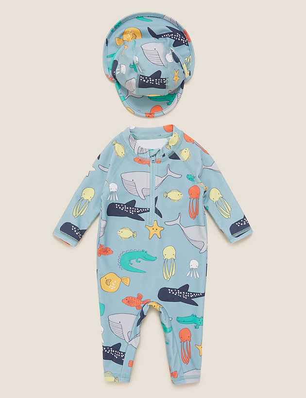 2pc Sea Animal Long Sleeve Swimsuit Set (0-3 Yrs)