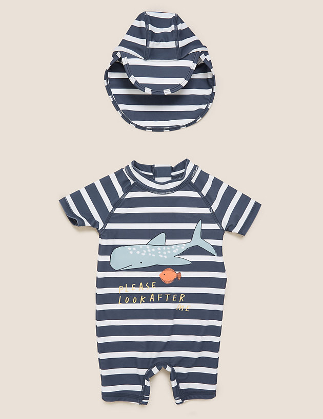2pc Whale Stripe Swim Set (0-3 Yrs)