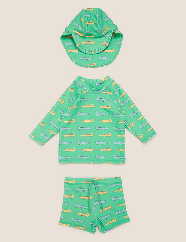 3pc Crocodile Print Swim Set (0-3 Yrs)