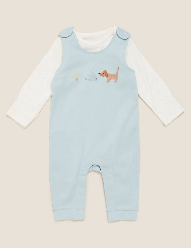 2pc Pure Cotton Printed Dungarees Outfit (7lbs - 12 Mths)