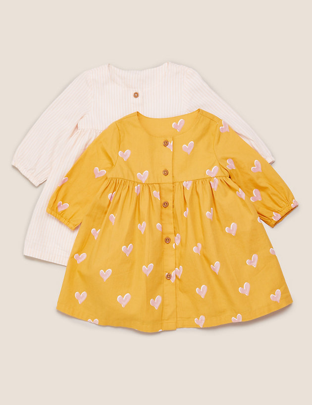 2pk Pure Cotton Dresses (0-3 Yrs)