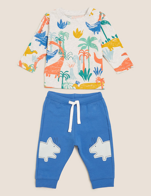 2pc Cotton Dinosaur Outfit (0-3 Yrs)