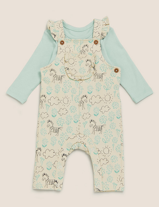2pc Cotton Floral Zebra Dungaree Outfit (0-3 Yrs)