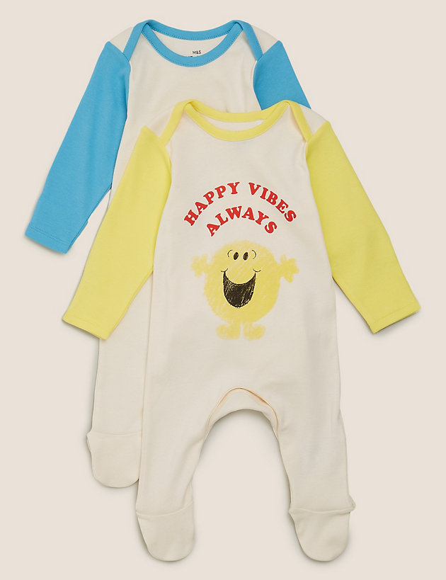 2 Pack Pure Cotton Mr Men  Sleepsuits (0-3 Yrs)
