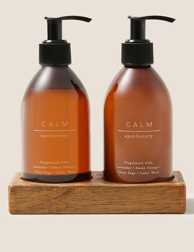 Calm Hand Wash & Lotion Duo with Wooden Holder