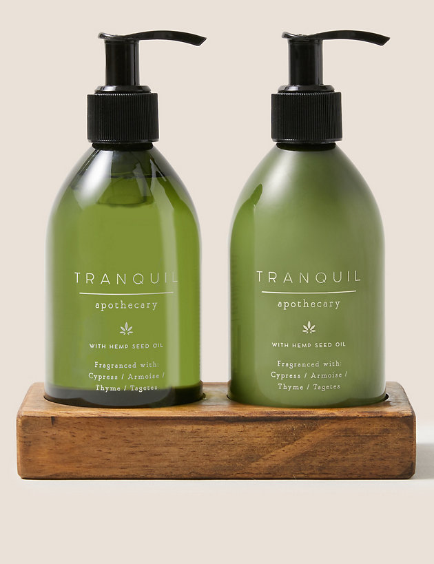 Tranquil Hand Wash & Lotion Duo with Wooden Holder
