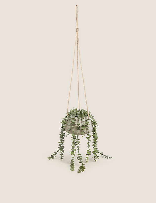 Artificial Hanging String of Hearts in Pot