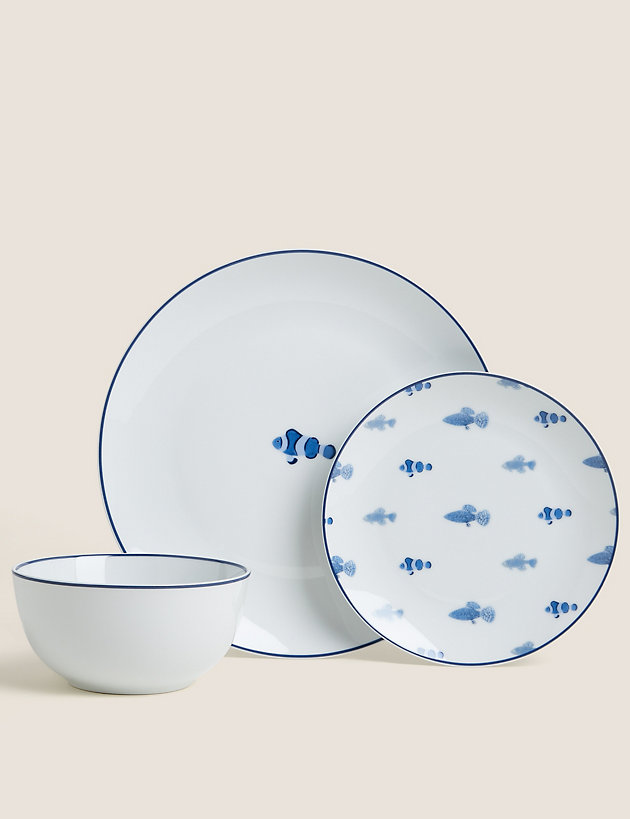 12 Piece Nautical Dinner Set