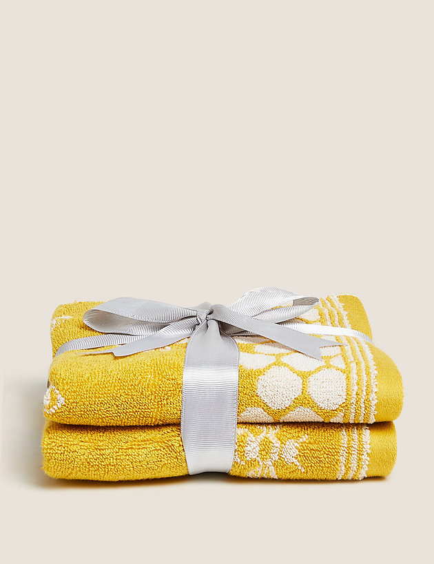 2 Pack Pure Cotton Honeycomb Bee Towels