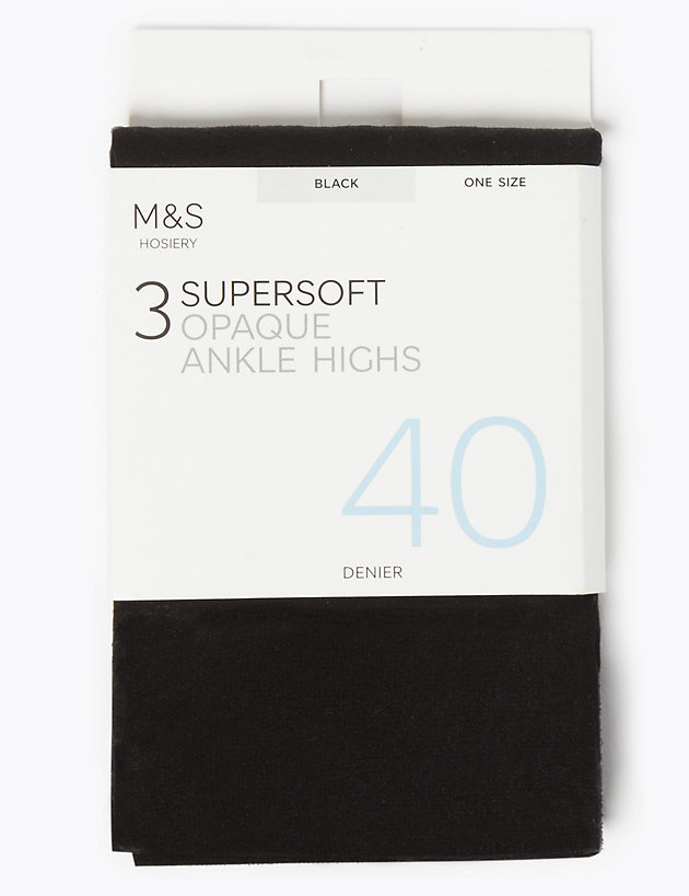 3pk 40 Denier Supersoft Opaque Ankle Highs