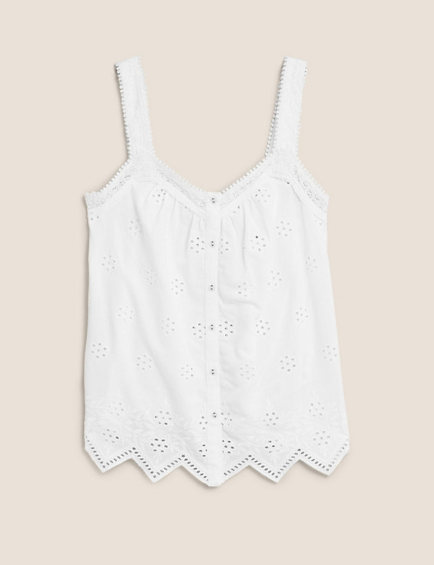 Cotton Embroidered Cami Top