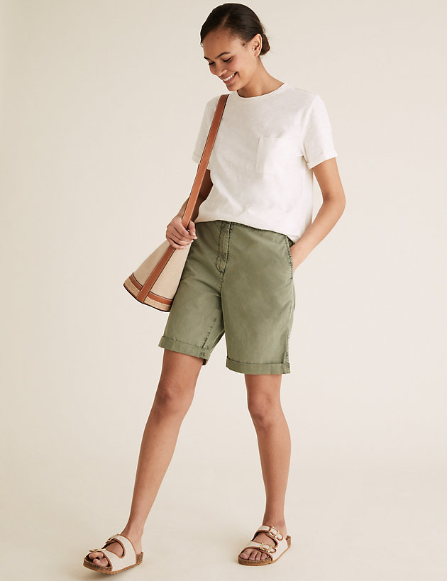 Pure Cotton Long Chino Shorts