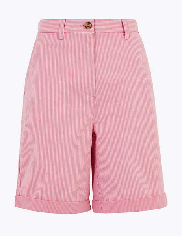Cotton Rich Striped Long Chino Shorts
