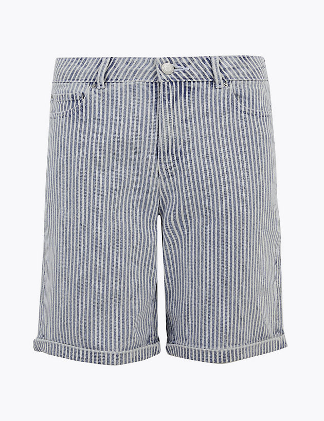 Cotton Rich Boyfriend Striped Chino Shorts