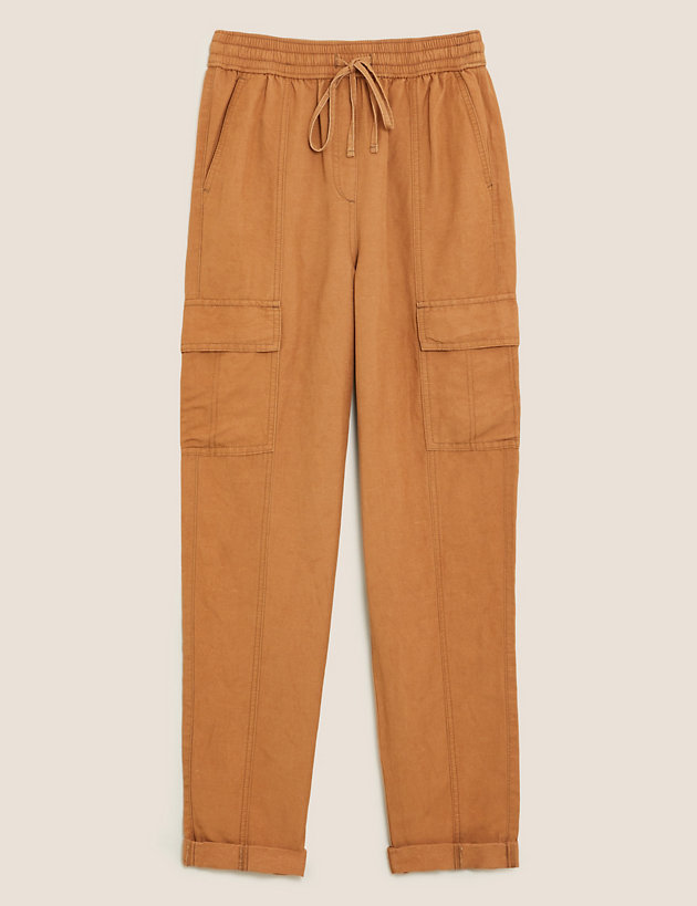 Linen Tencel Cargo Tapered Trouser