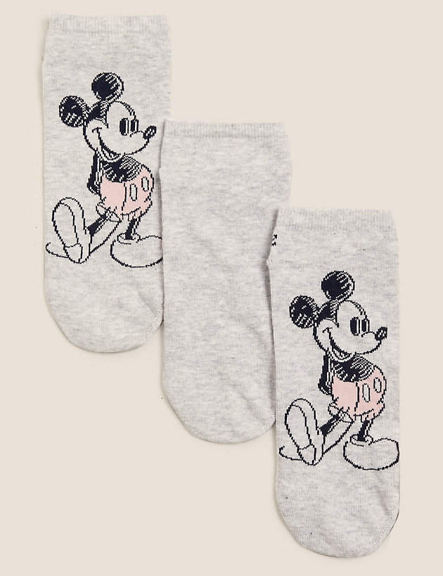3pk Cotton Mickey Mouse  Trainer Liners
