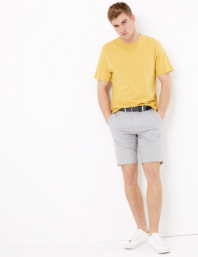 Belted Striped Chino Shorts