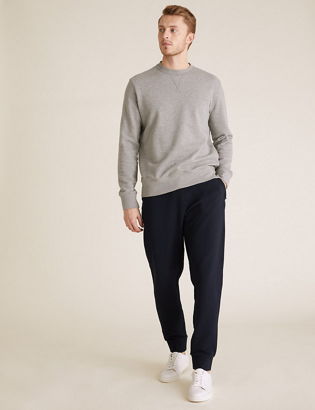 Textured Cuffed Pure Cotton Joggers