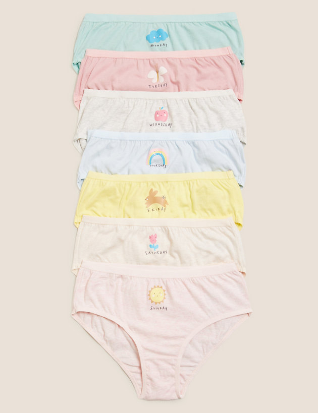 7pk Pure Cotton Days of the Week Knickers (2-16 Yrs)