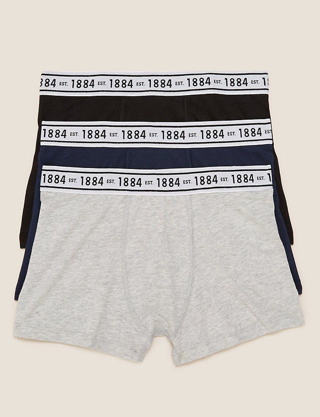 3pk Cotton With Stretch Plain Trunks (6-16 Yrs)