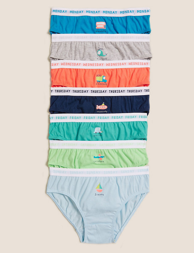 7pk Pure Cotton Days Of The Week Briefs (1-7 Yrs)
