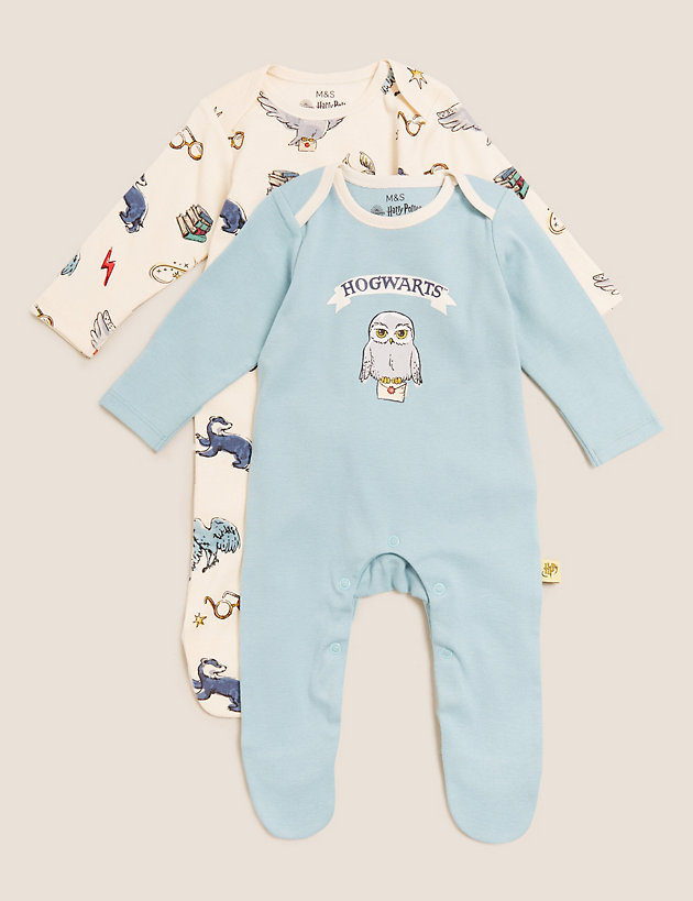 2pk Pure Cotton Harry Potter  Sleepsuits (7lbs-3 Yrs)