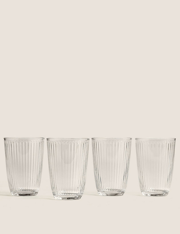 Set of 4 Textured Striped Glasses