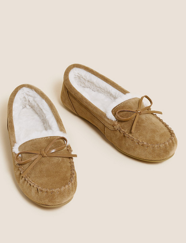 Suede Bow Faux Fur Lined Moccasin Slippers