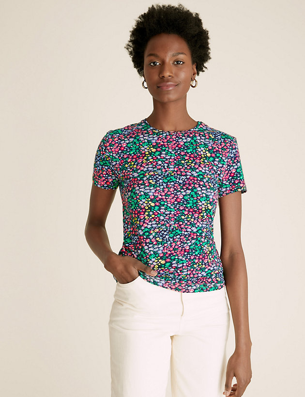 Cotton Floral Crew Neck Fitted T-Shirt