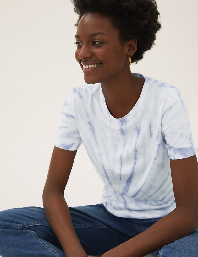 Pure Cotton Tie-Dye Straight Fit T-Shirt