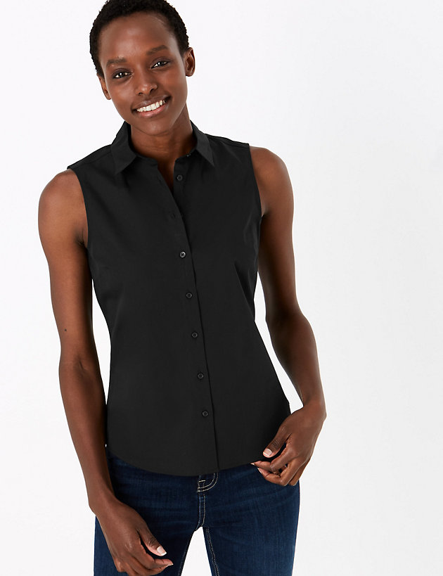 Cotton Rich Fitted Sleeveless Shirt
