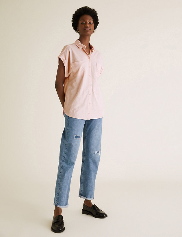 Jersey Collared Relaxed Short Sleeve Shirt