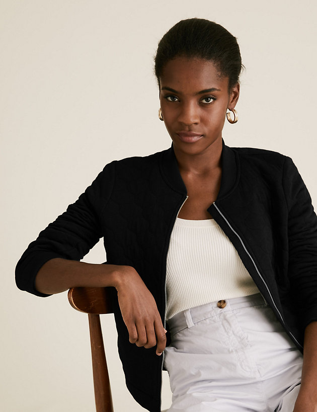 Cotton Quilted Bomber Jacket