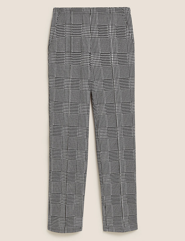 Jersey Checked Straight Leg Trousers