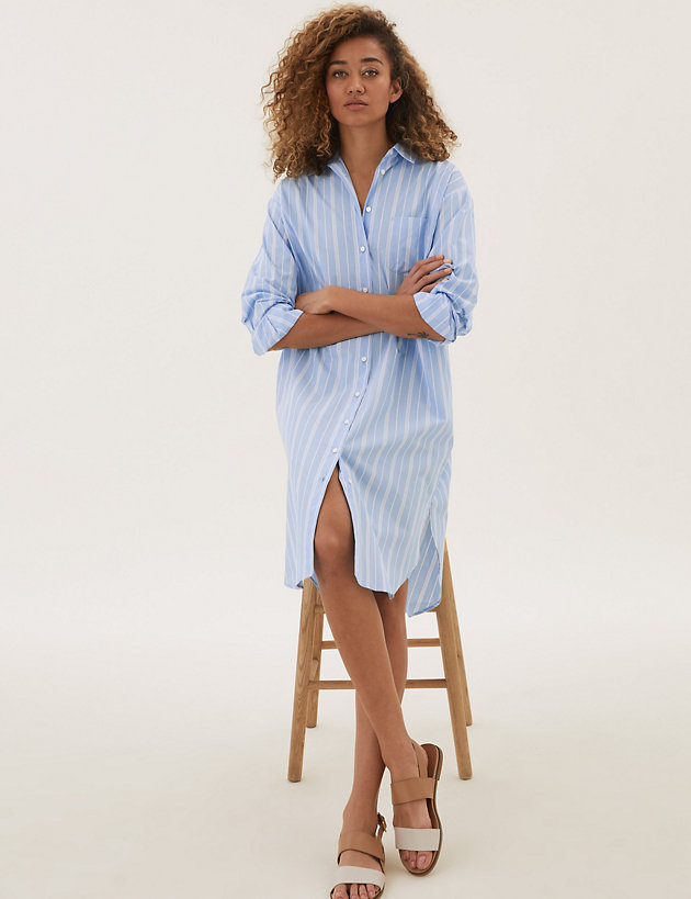 Pure Cotton Striped Relaxed Shirt Dress