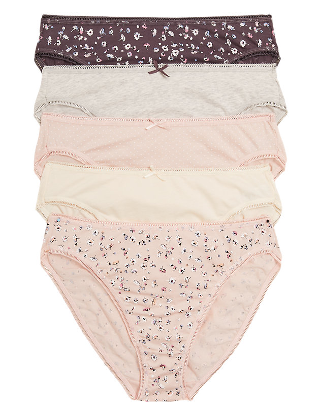 M /& S Size 10 High Leg Knickers panties briefs stretchy cotton rich Cream