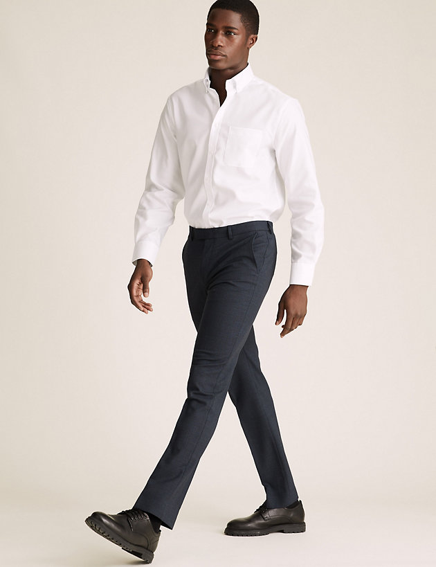 Navy Tailored Fit Micro Texture Trousers