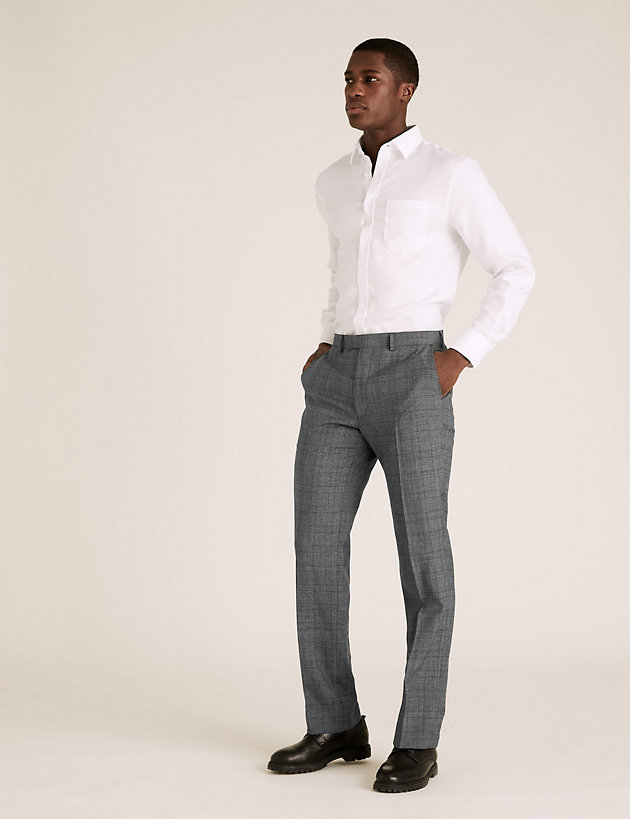 Charcoal Checked Wool Trousers