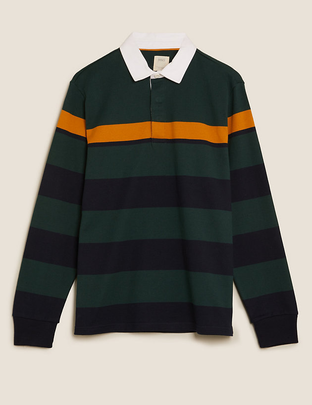 Pure Cotton Striped Rugby Shirt