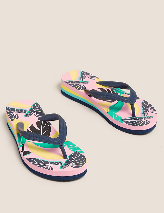 Kids' Tropical Wedge Flip-flops (13 Small - 6 Large)