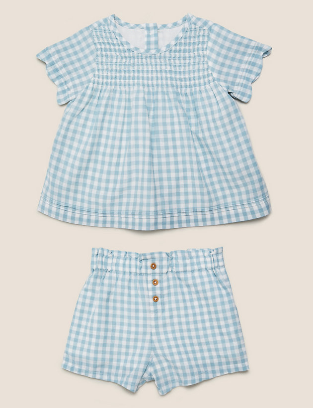 2pc Pure Cotton Gingham Outfit (0-3 Yrs)