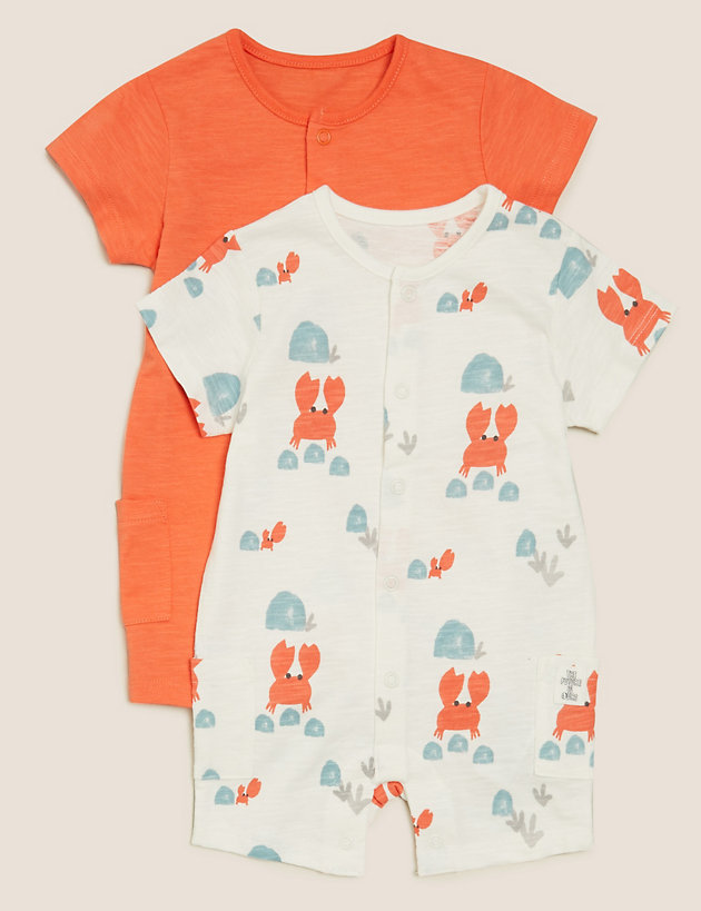 2pk Cotton Crab Rompers (0-3 Yrs)