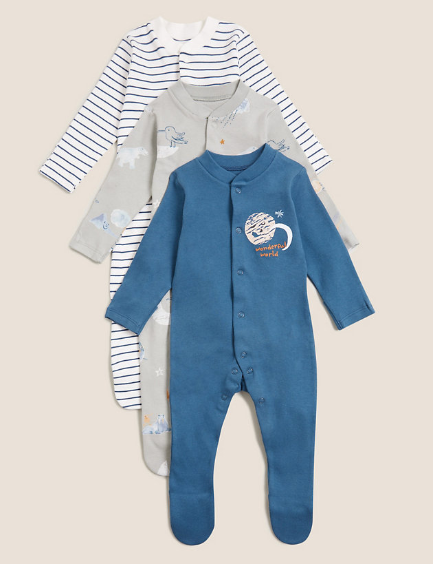 3pk Pure Cotton Printed Sleepsuits (0-3 Yrs)