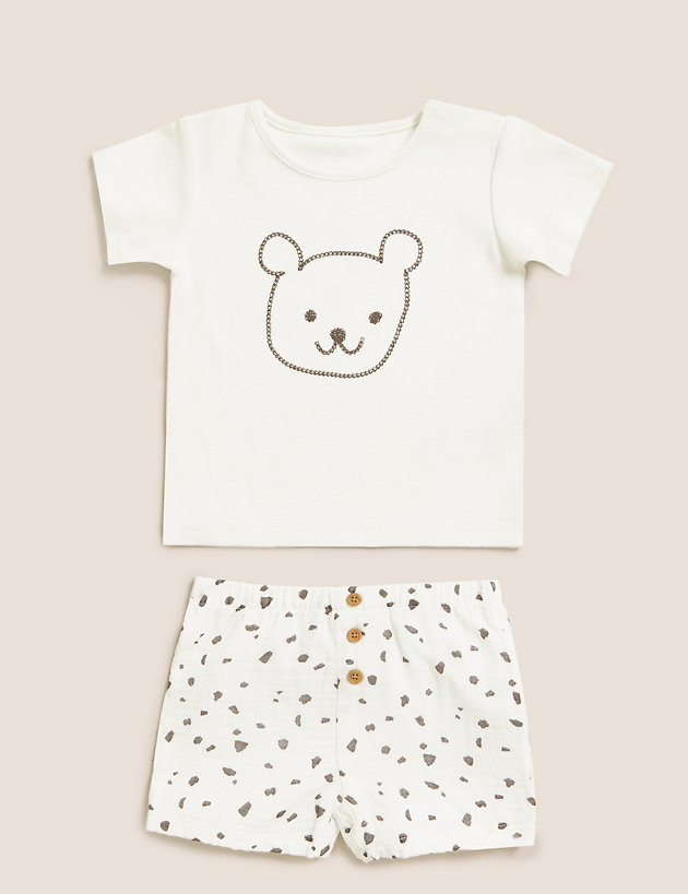 2pc Cotton Bear Outfit (7lbs - 12 Mths)